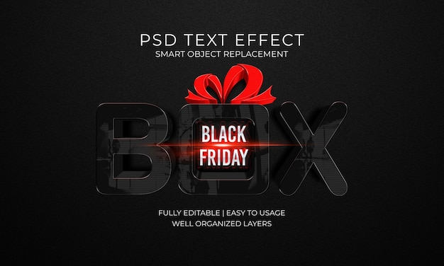 Plantilla de efecto de texto box black friday