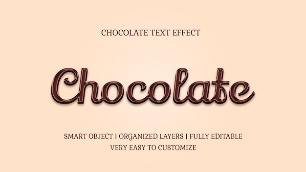 Plantilla de efecto de texto de caramelo estilo chocolate