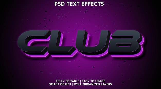 Plantilla de efecto de texto de club