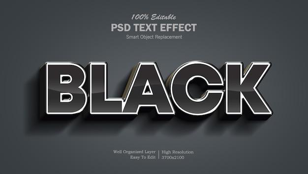 Plantilla de efecto de texto de color negro brillante
