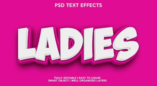 Plantilla de efecto de texto para damas