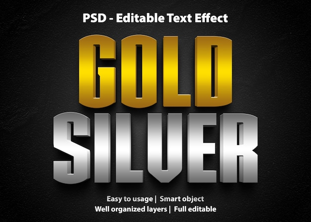 Plantilla de efecto de texto dorado plateado