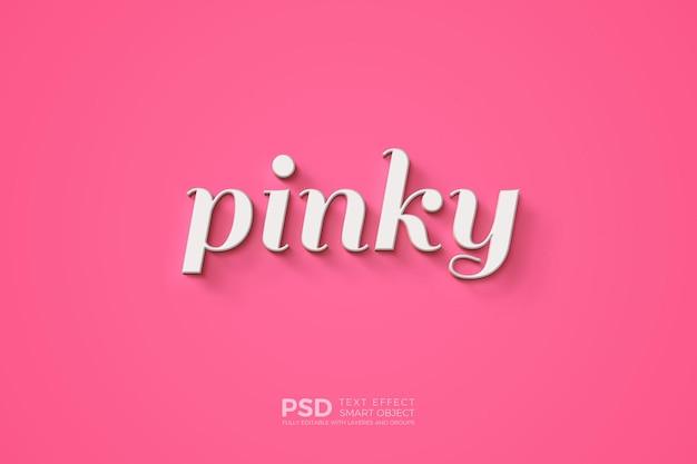 Plantilla de efecto de texto con escritura meñique sobre fondo rosa