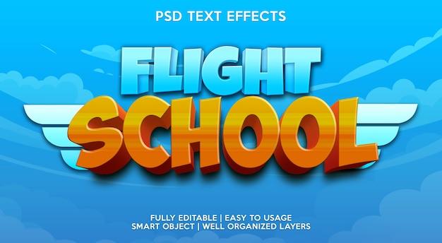 Plantilla de efecto de texto de escuela de vuelo
