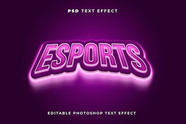 Plantilla de efecto de texto de esport con efecto de luz y color morado.