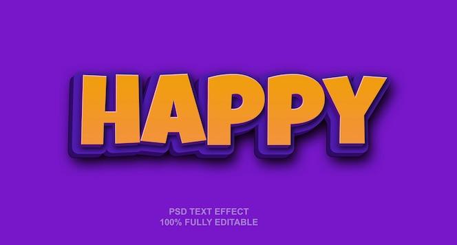 Plantilla de efecto de texto de estilo feliz