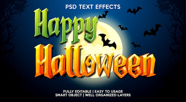 Plantilla de efecto de texto de feliz halloween