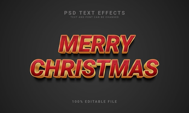 Plantilla de efecto de texto de feliz navidad editable 3d