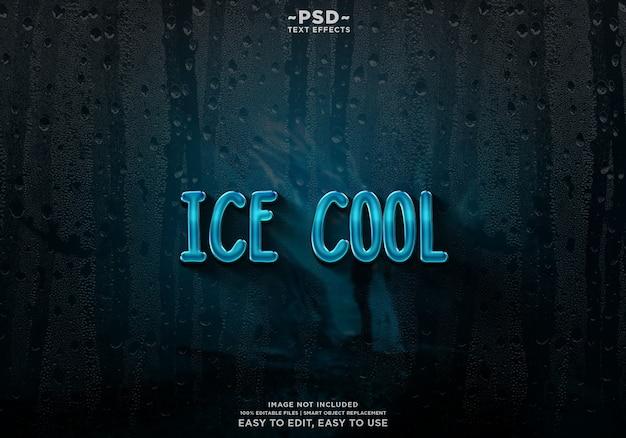 Plantilla de efecto de texto frío hielo premium psd