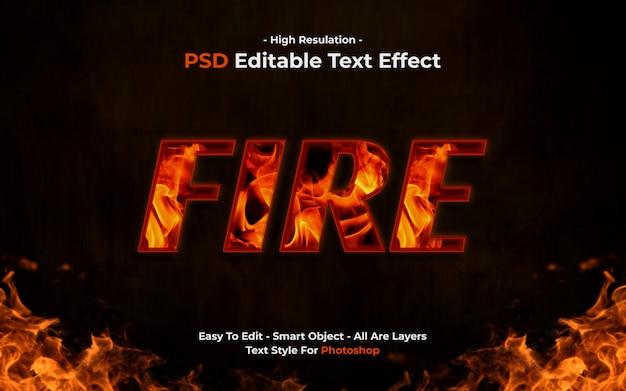 Plantilla de efecto de texto de fuego