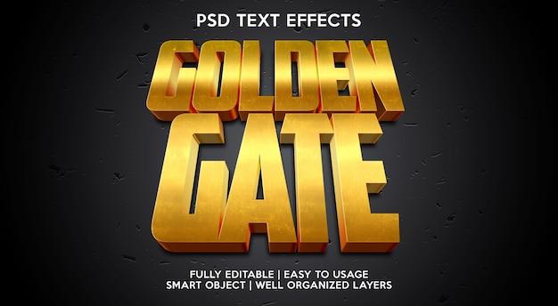 Plantilla de efecto de texto golden gate
