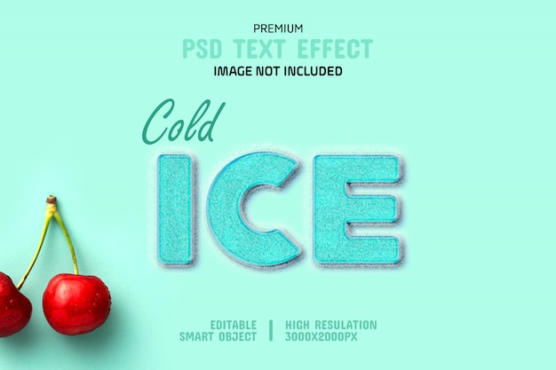 Plantilla de efecto de texto de hielo frío