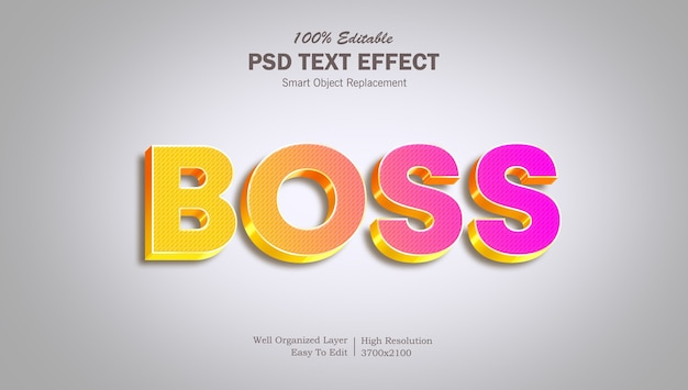 Plantilla de efecto de texto de jefe colorido 3d