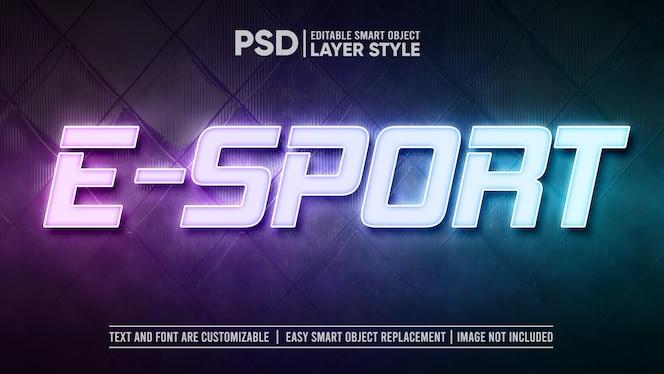 Plantilla de efecto de texto de lámpara de luz led e-sport