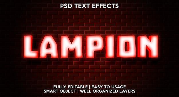 Plantilla de efecto de texto de lampion