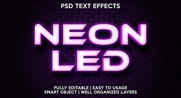 Plantilla de efecto de texto led de neón