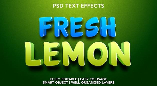Plantilla de efecto de texto de limón fresco