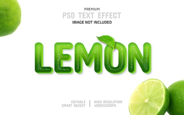 Plantilla de efecto de texto de limón