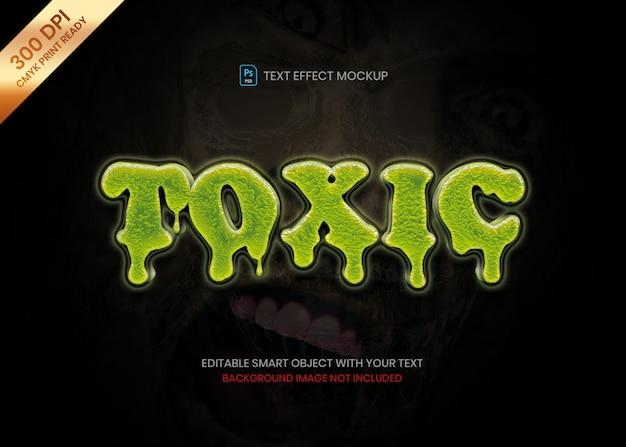 Plantilla de efecto de texto de logotipo 3d de veneno verde líquido de fusión
