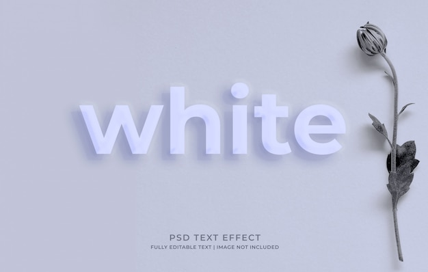 Plantilla de efecto de texto de maqueta blanca de estilo 3d