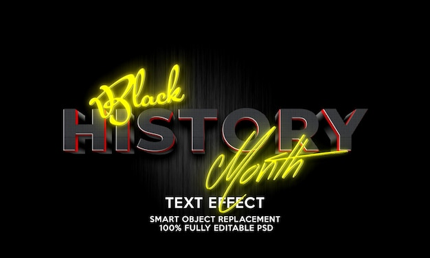 Plantilla de efecto de texto del mes de la historia negra