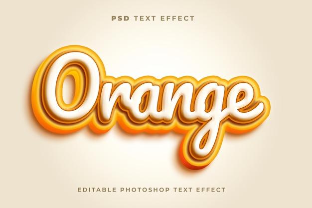 Plantilla de efecto de texto naranja 3d