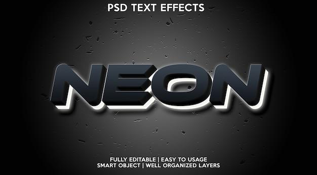 Plantilla de efecto de texto de neón
