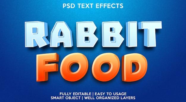 Plantilla de efecto de texto de noticias de comida de conejo