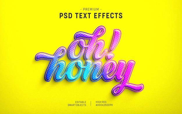Plantilla de efecto de texto oh honey valentine