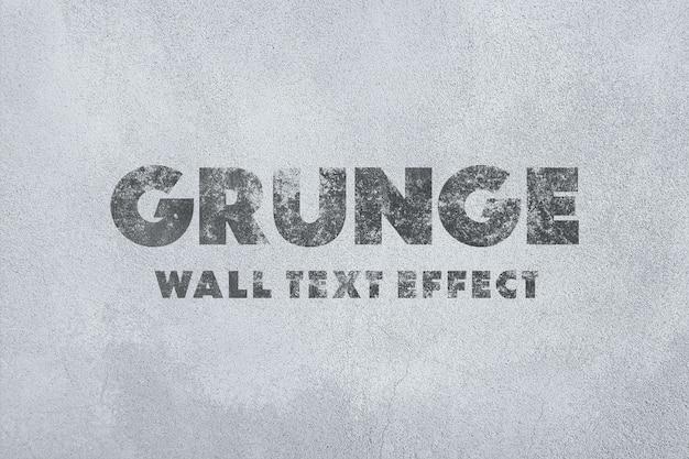 Plantilla de efecto de texto de pared de grunge