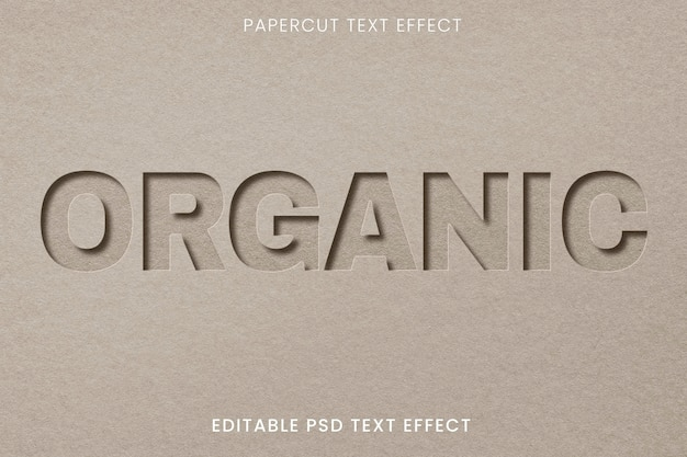 Plantilla de efecto de texto psd editable de corte de papel