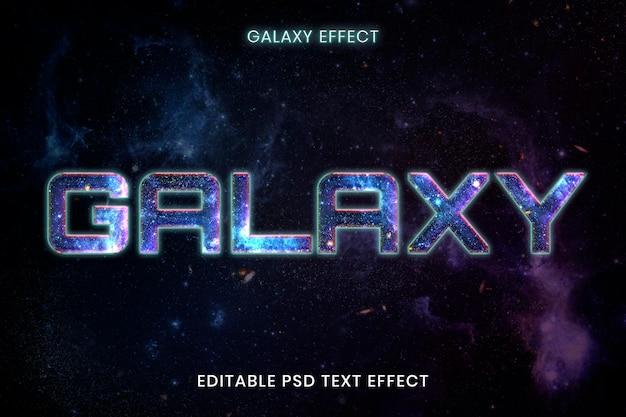 Plantilla de efecto de texto psd editable galaxy