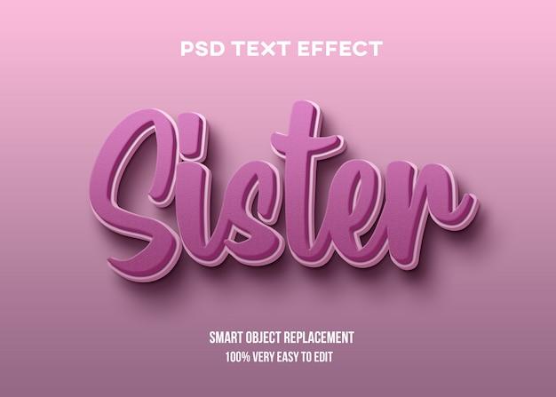 Plantilla de efecto de texto realista rosa 3d