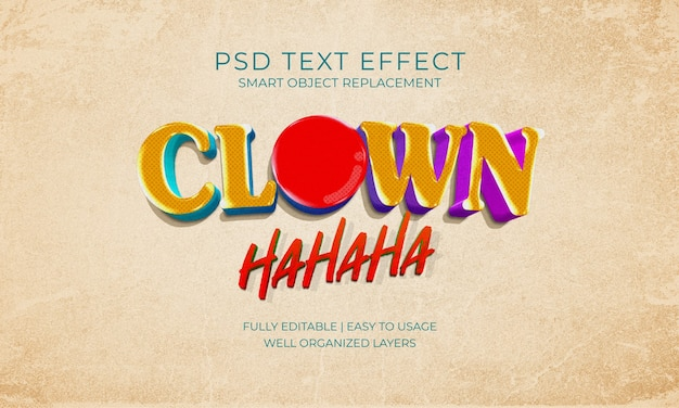 Plantilla de efecto de texto de risa de payaso