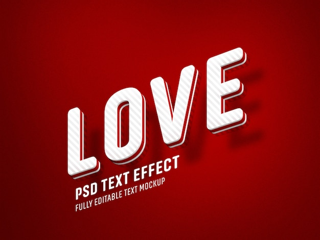 Plantilla de efecto de texto de san valentín amor