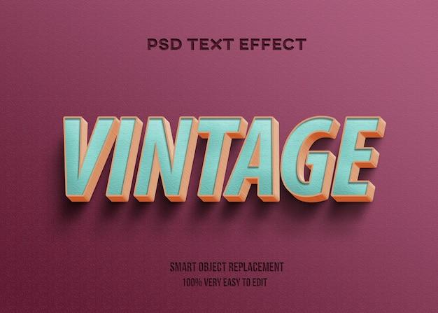 Plantilla de efecto de texto de textura vintage 3d