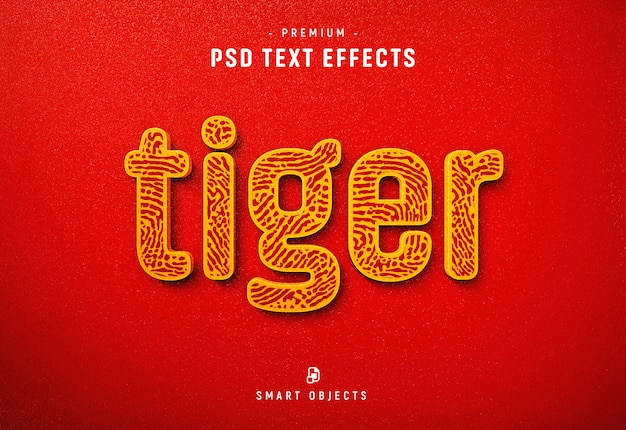 Plantilla de efecto de texto de tigre