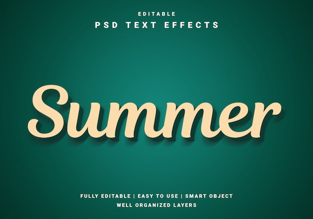 Plantilla de efecto de texto de verano realista 3d moderno