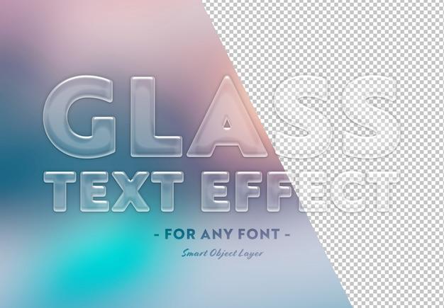 Plantilla de efecto de texto de vidrio transparente