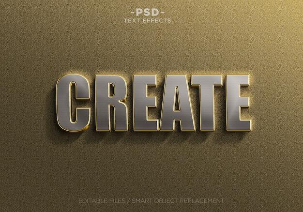 Plantilla de efectos de texto de plata dorada realista 3d