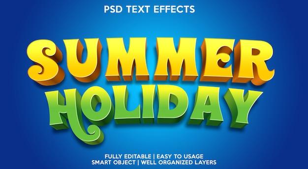 Plantilla de efectos de texto de vacaciones de verano