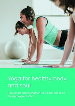 Plantilla de ejercicio de yoga psd para un estilo de vida saludable para un cartel publicitario