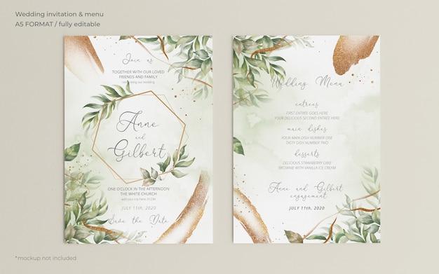 Plantilla elegante de invitación y menú de boda con hojas