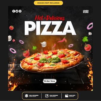 Plantilla especial de publicación de banner de redes sociales de delicious pizza
