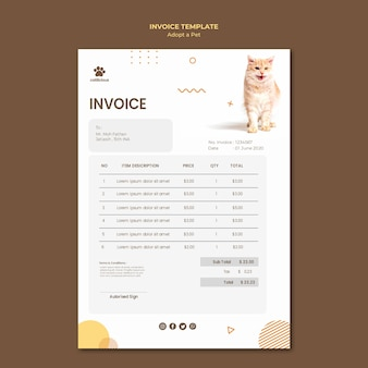 Plantilla de factura de adopción de mascotas