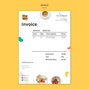 Plantilla de factura para brunch