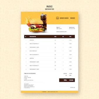 Plantilla de factura de comida americana