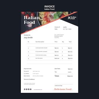 Plantilla de factura de concepto de comida italiana