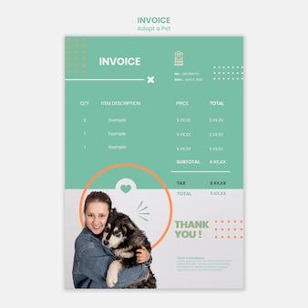 Plantilla de factura con mascota adoptada