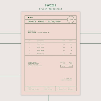 Plantilla de factura de restaurante de brunch